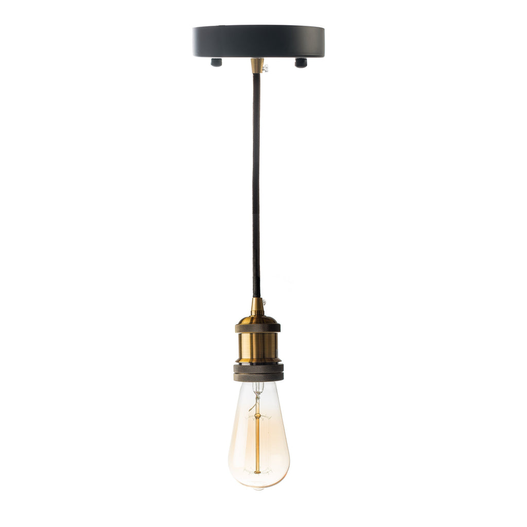 Black Single Vintage Pendant Lamp- Black