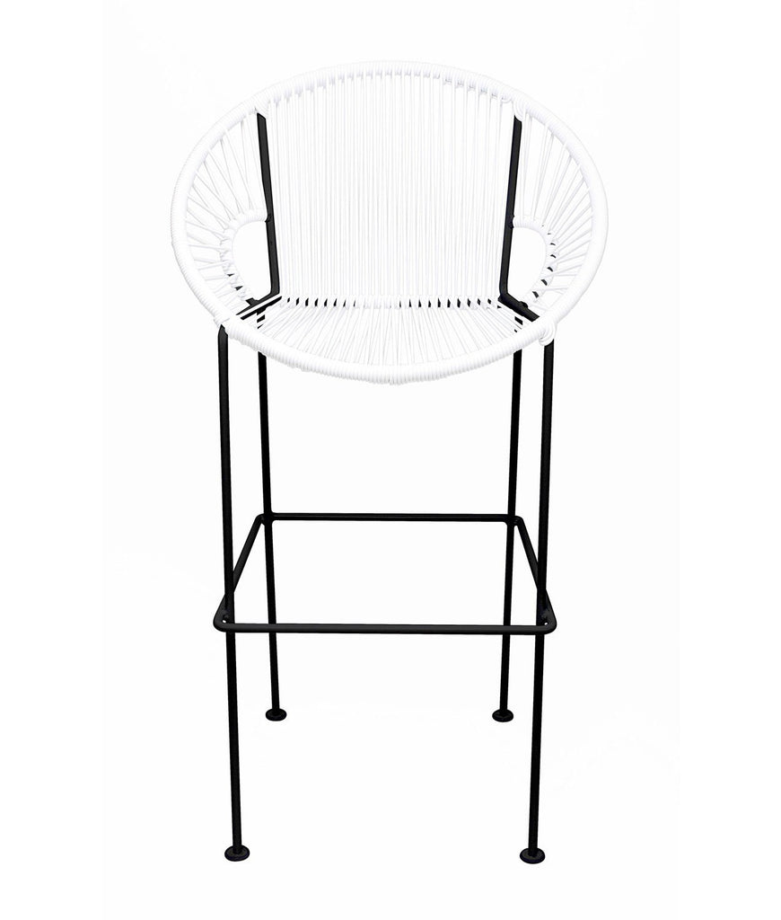 Bar Stools White Small Puerto Stool (bar height 40'') on Black Frame