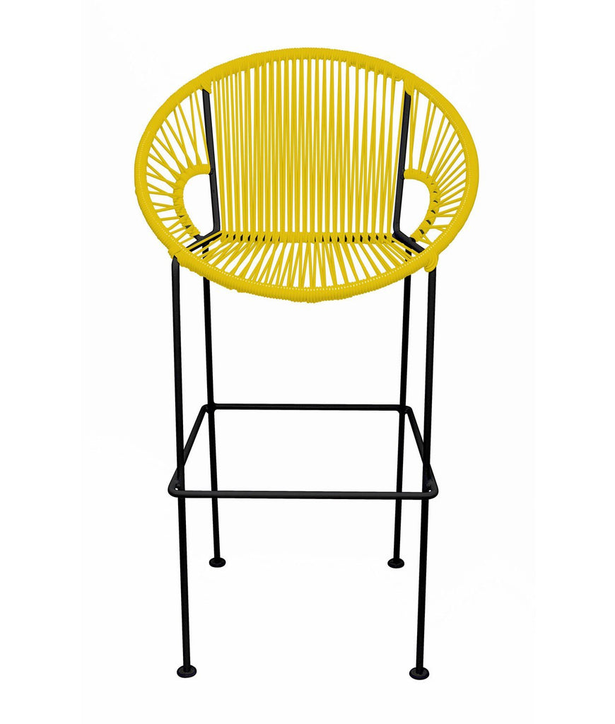 Bar Stools Yellow Small Puerto Stool (bar height 40'') on Black Frame