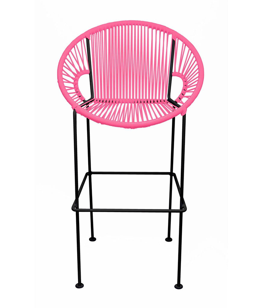Bar Stools Pink Small Puerto Stool (bar height 40'') on Black Frame