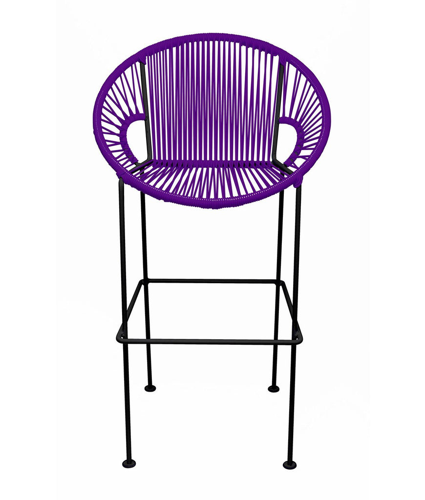 Bar Stools Purple Small Puerto Stool (bar height 40'') on Black Frame