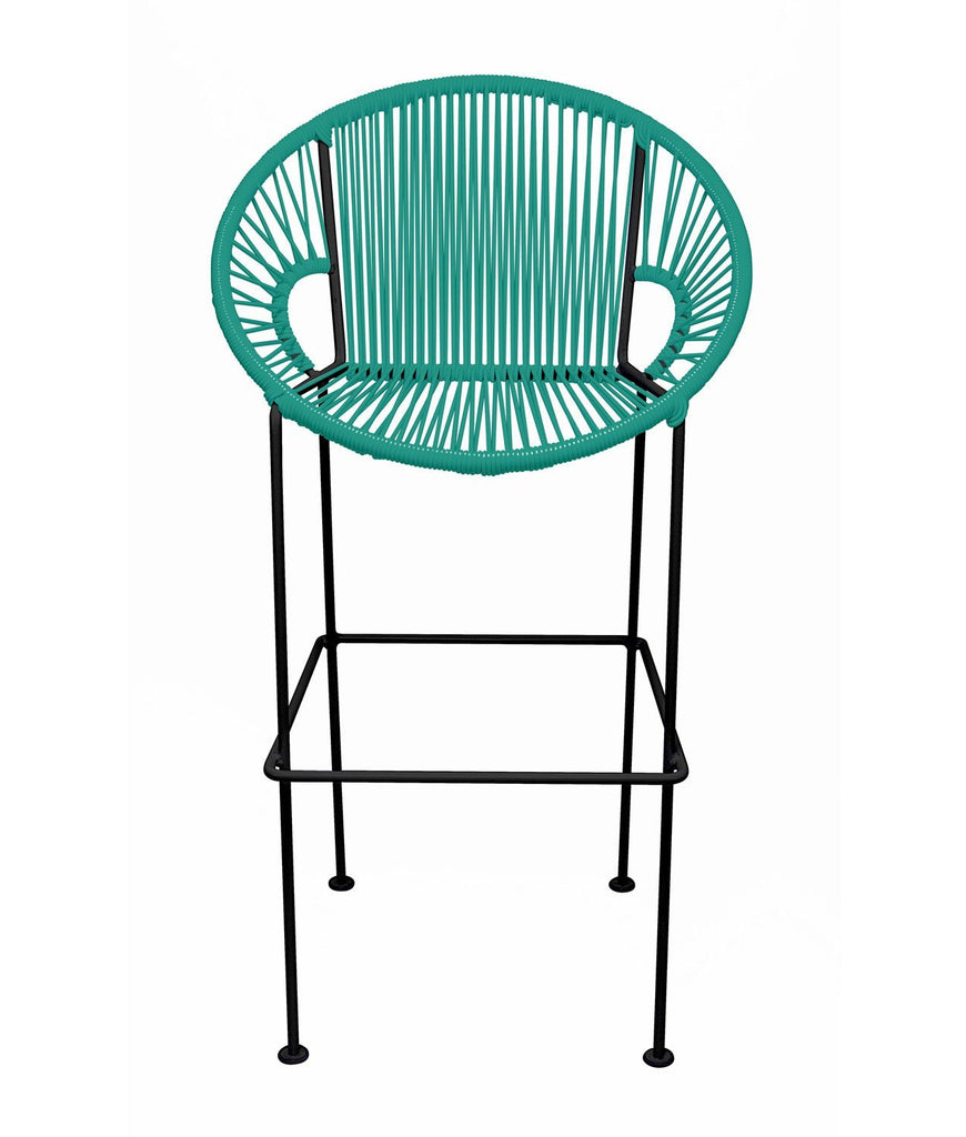 Bar Stools Turquoise Small Puerto Stool (bar height 40'') on Black Frame