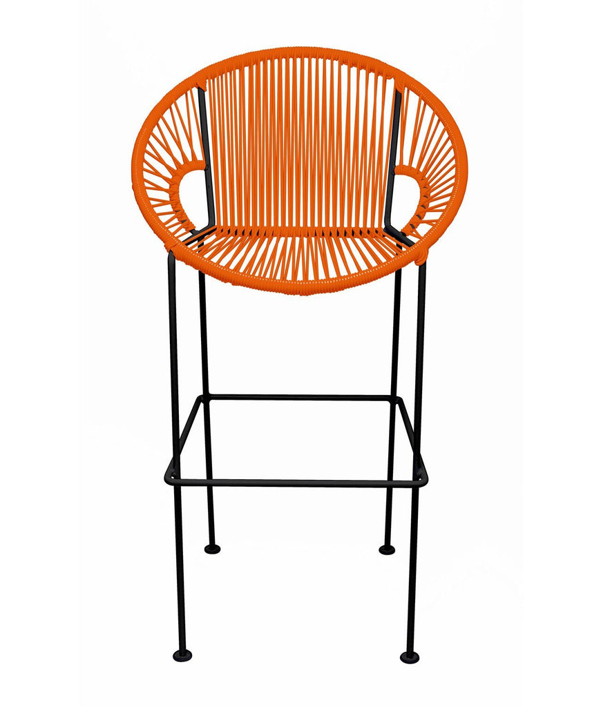 Bar Stools Orange Small Puerto Stool (bar height 40'') on Black Frame