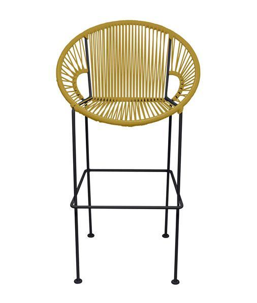 Bar Stools Gold Small Puerto Stool (bar height 40'') on Black Frame