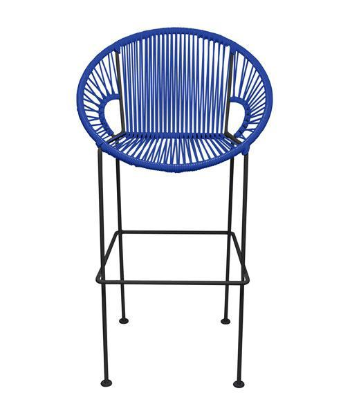 Bar Stools Deep Blue Small Puerto Stool (bar height 40'') on Black Frame