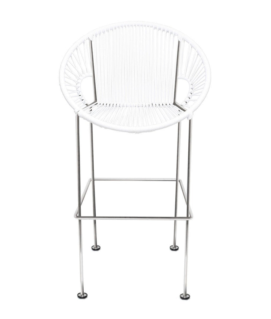 Bar Stools white Weave on Chrome frame Small Puerto stool (bar height 40'') on Chrome Frame
