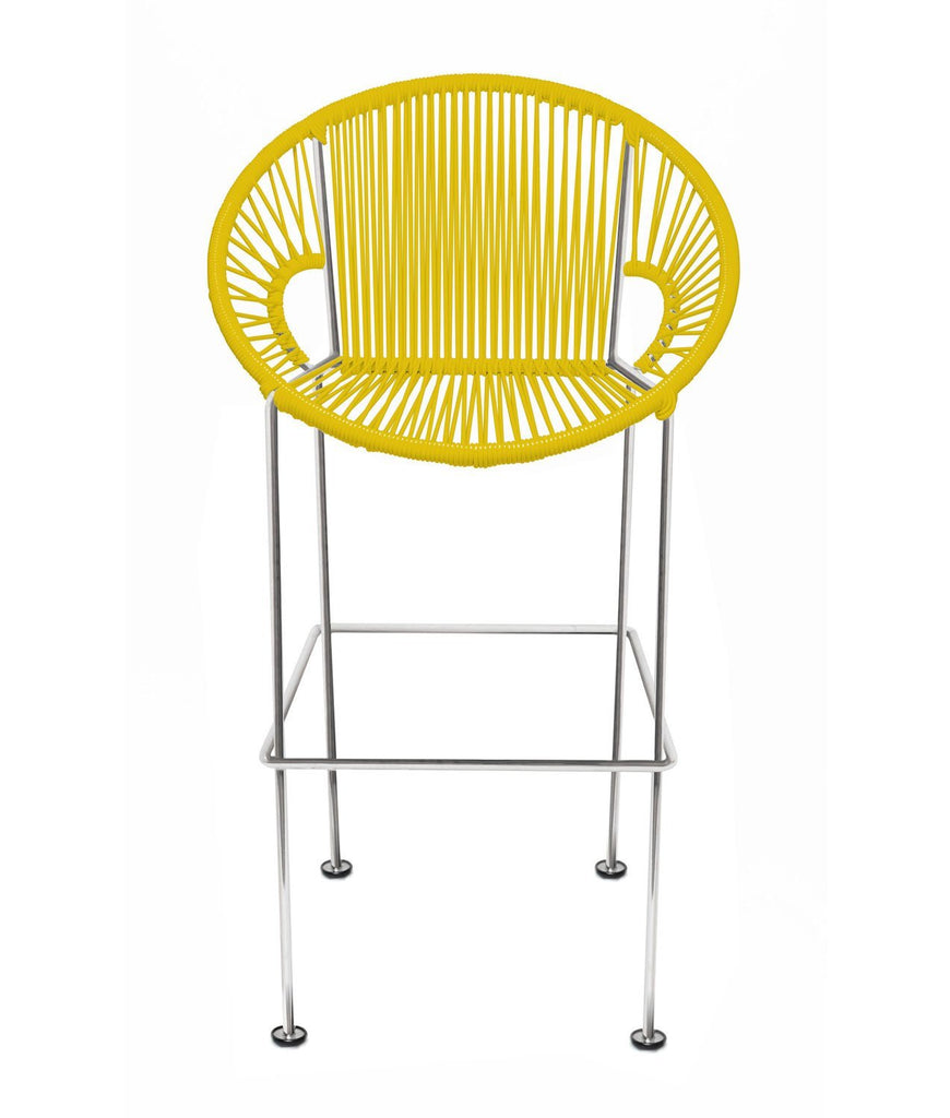 Bar Stools yellow Weave on Chrome frame Small Puerto stool (bar height 40'') on Chrome Frame
