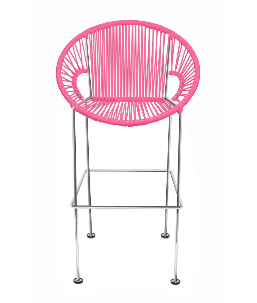 Bar Stools pink Weave on Chrome frame Small Puerto stool (bar height 40'') on Chrome Frame