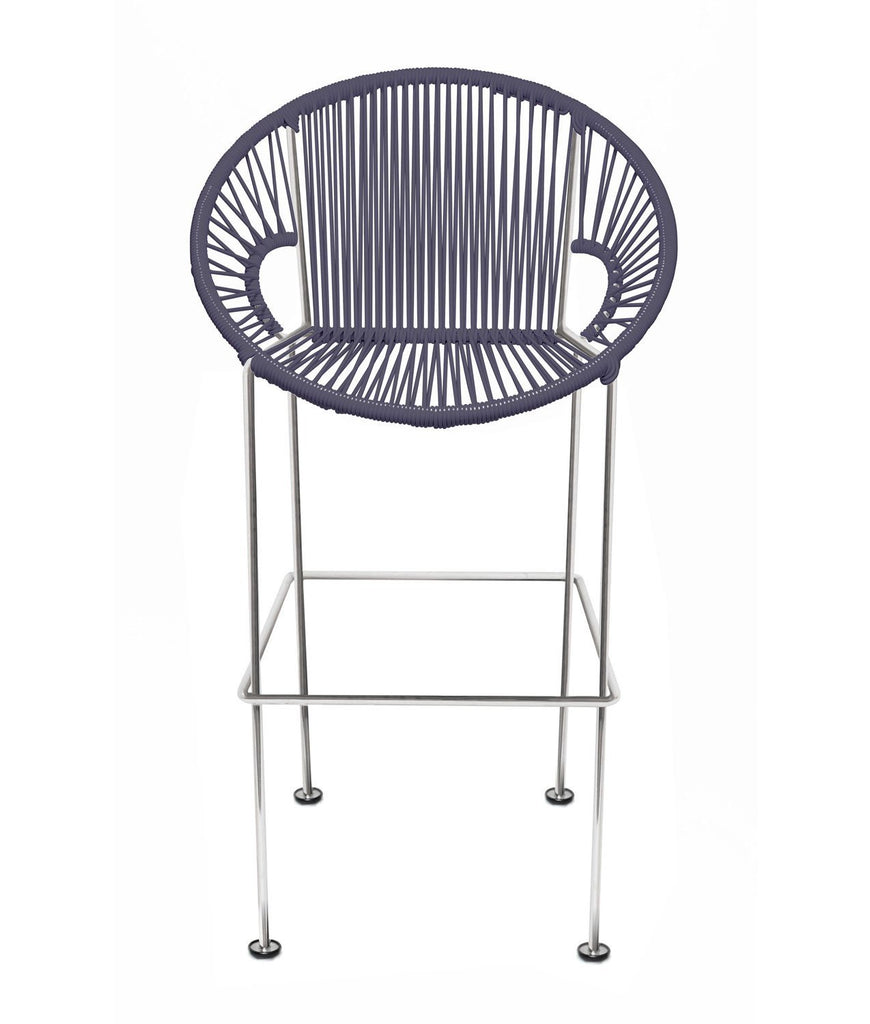 Bar Stools grey Weave on Chrome frame Small Puerto stool (bar height 40'') on Chrome Frame