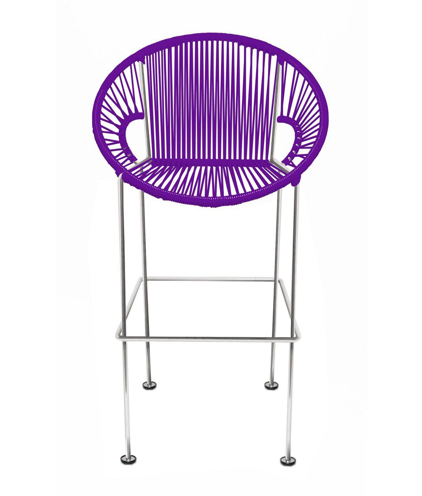 Bar Stools purple Weave on Chrome frame Small Puerto stool (bar height 40'') on Chrome Frame