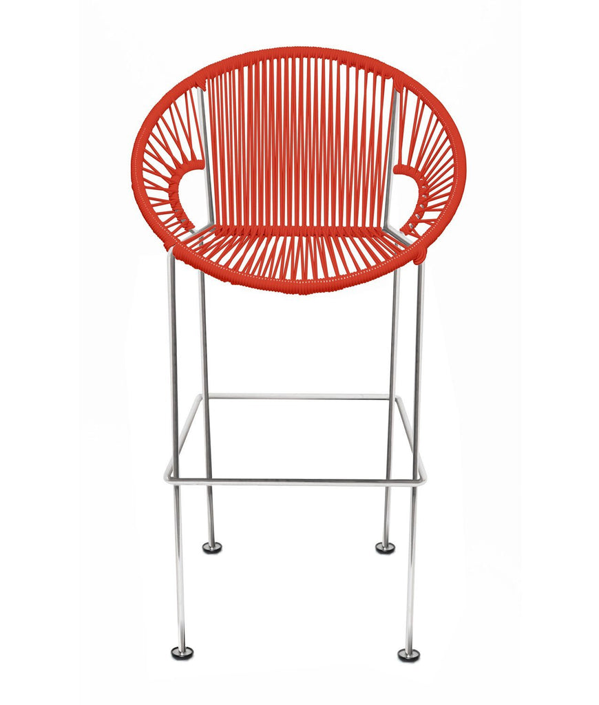 Bar Stools red Weave on Chrome frame Small Puerto stool (bar height 40'') on Chrome Frame