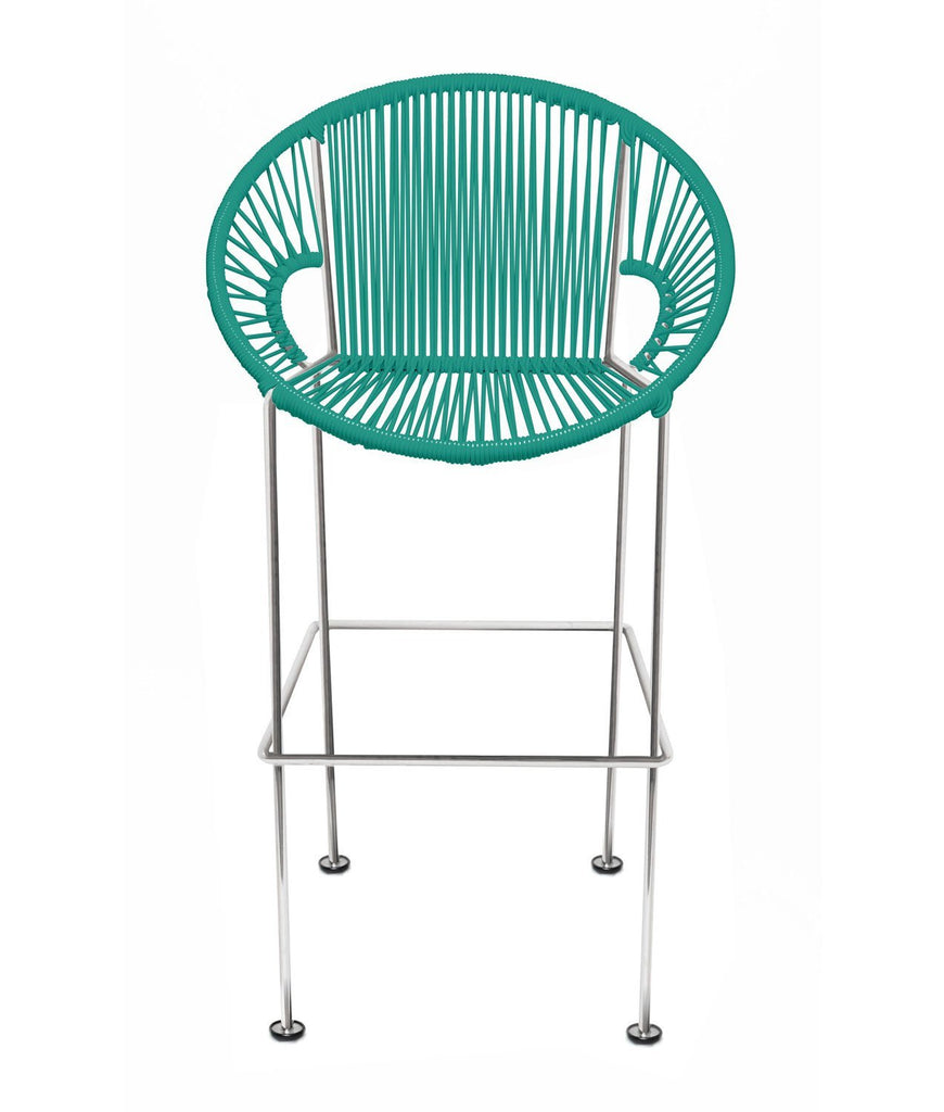 Bar Stools turquoise Weave on Chrome frame Small Puerto stool (bar height 40'') on Chrome Frame