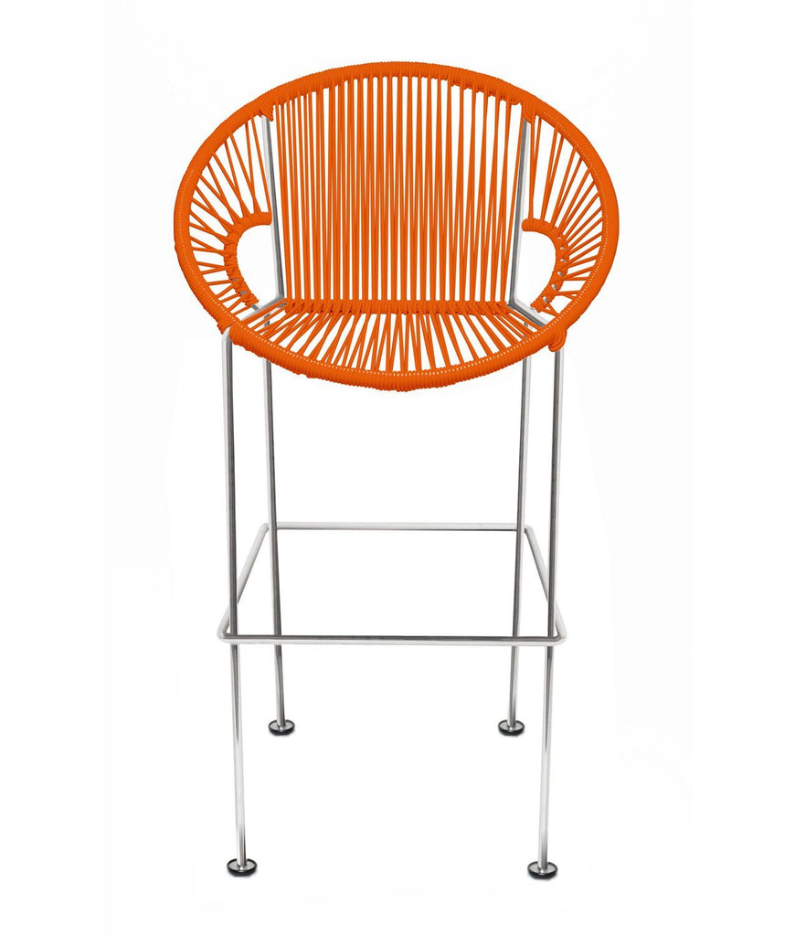 Bar Stools orange Weave on Chrome frame Small Puerto stool (bar height 40'') on Chrome Frame