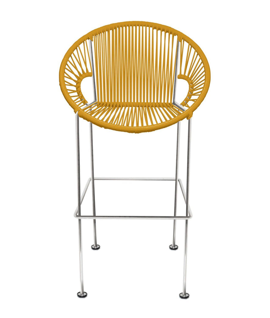 Bar Stools Caramel Weave on Chrome frame Small Puerto stool (bar height 40'') on Chrome Frame