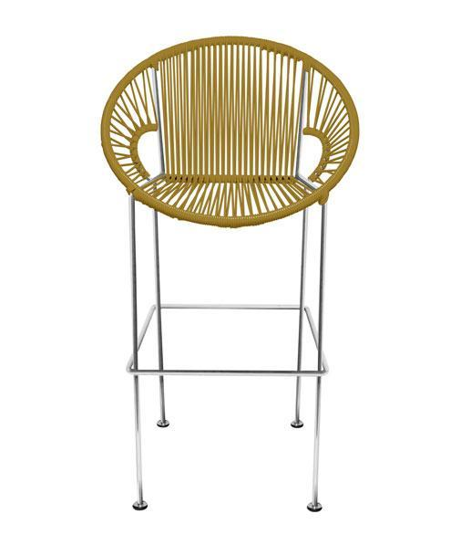 Bar Stools Gold Weave on Chrome frame Small Puerto stool (bar height 40'') on Chrome Frame