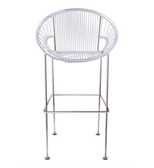 Bar Stools Clear Weave on Chrome frame Small Puerto stool (bar height 40'') on Chrome Frame