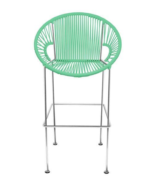 Bar Stools Mint Weave on Chrome frame Small Puerto stool (bar height 40'') on Chrome Frame
