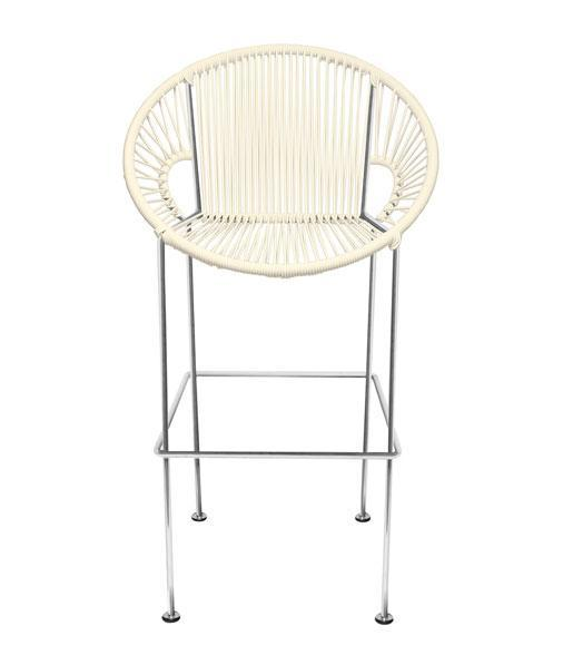 Bar Stools Ivory Weave on Chrome frame Small Puerto stool (bar height 40'') on Chrome Frame