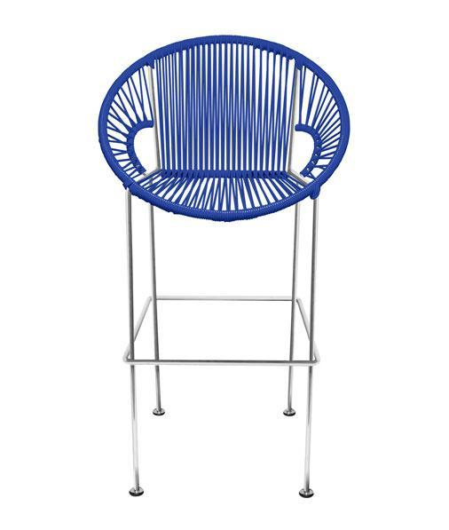 Bar Stools Deep Blue Weave on Chrome frame Small Puerto stool (bar height 40'') on Chrome Frame