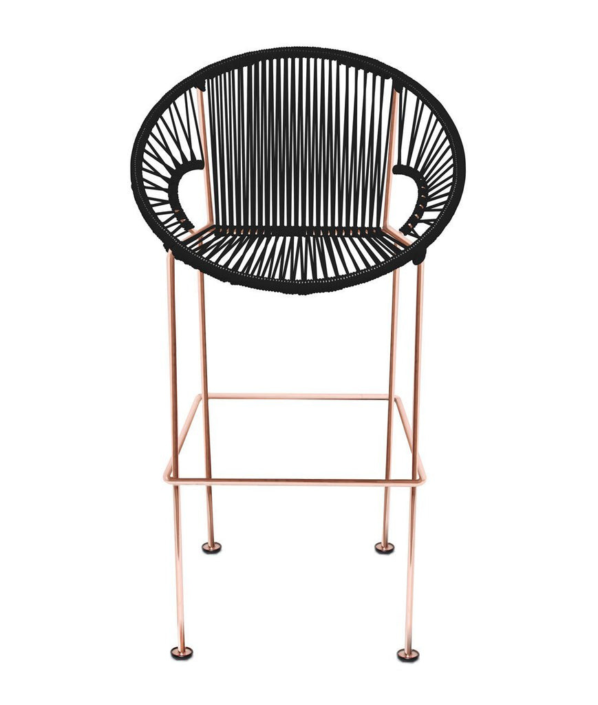 Bar Stools black Weave on Copper frame Small Puerto stool (bar height 40'') on Copper Frame