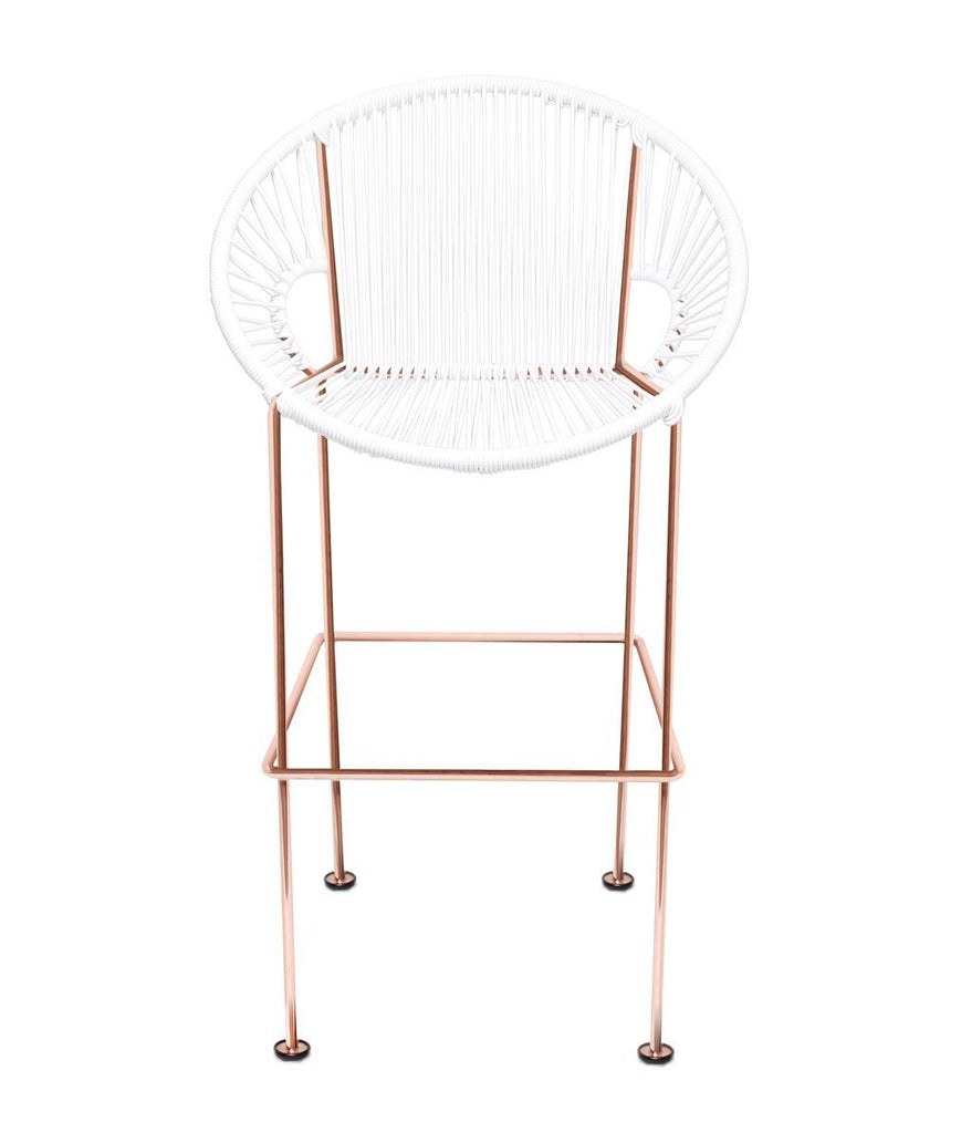 Bar Stools white Weave on Copper frame Small Puerto stool (bar height 40'') on Copper Frame