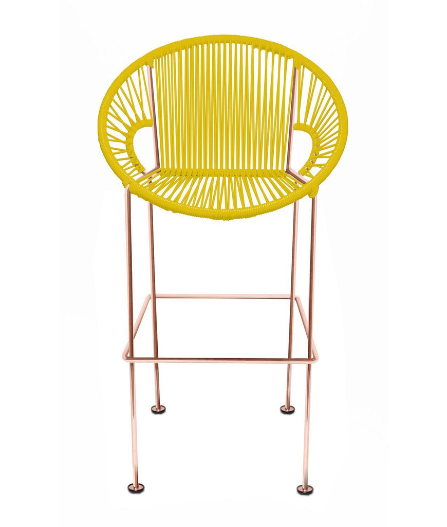 Bar Stools yellow Weave on Copper frame Small Puerto stool (bar height 40'') on Copper Frame