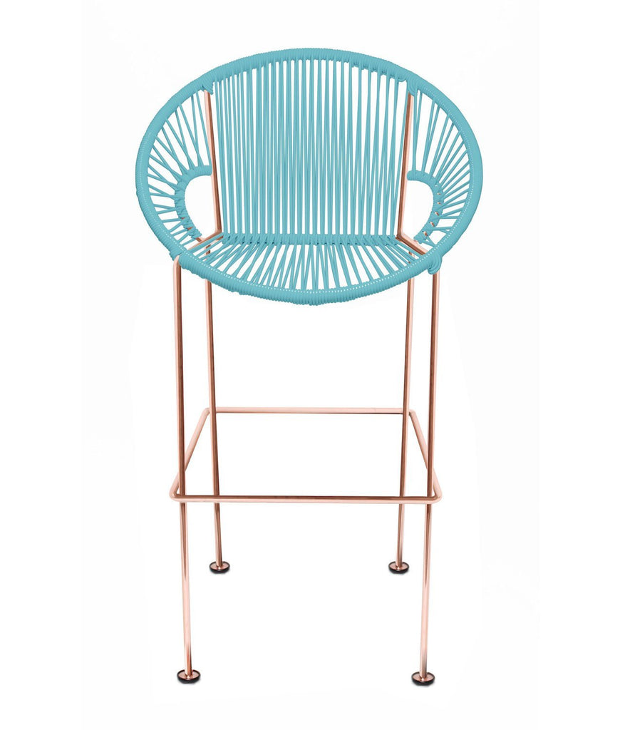 Bar Stools blue Weave on Copper frame Small Puerto stool (bar height 40'') on Copper Frame