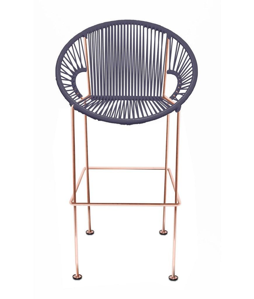 Bar Stools grey Weave on Copper frame Small Puerto stool (bar height 40'') on Copper Frame
