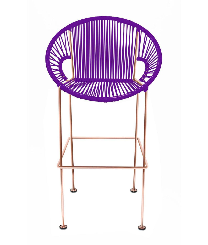 Bar Stools purple Weave on Copper frame Small Puerto stool (bar height 40'') on Copper Frame
