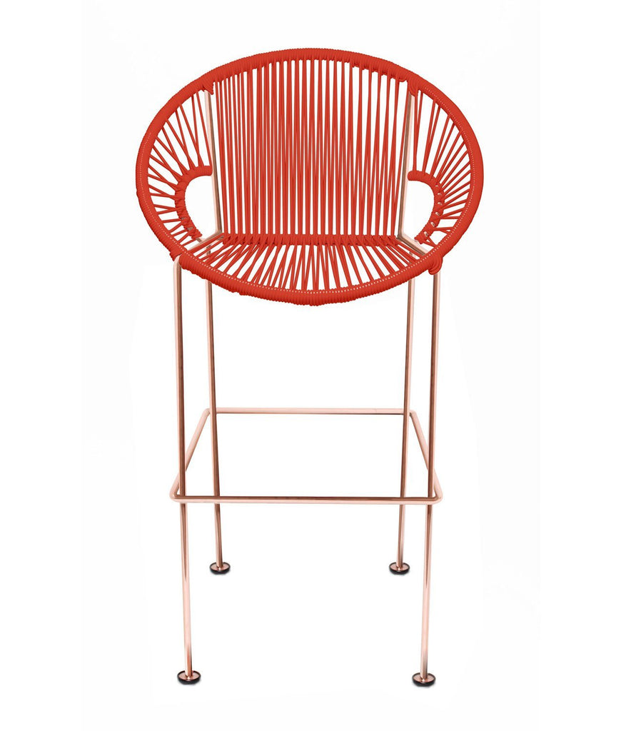 Bar Stools red Weave on Copper frame Small Puerto stool (bar height 40'') on Copper Frame