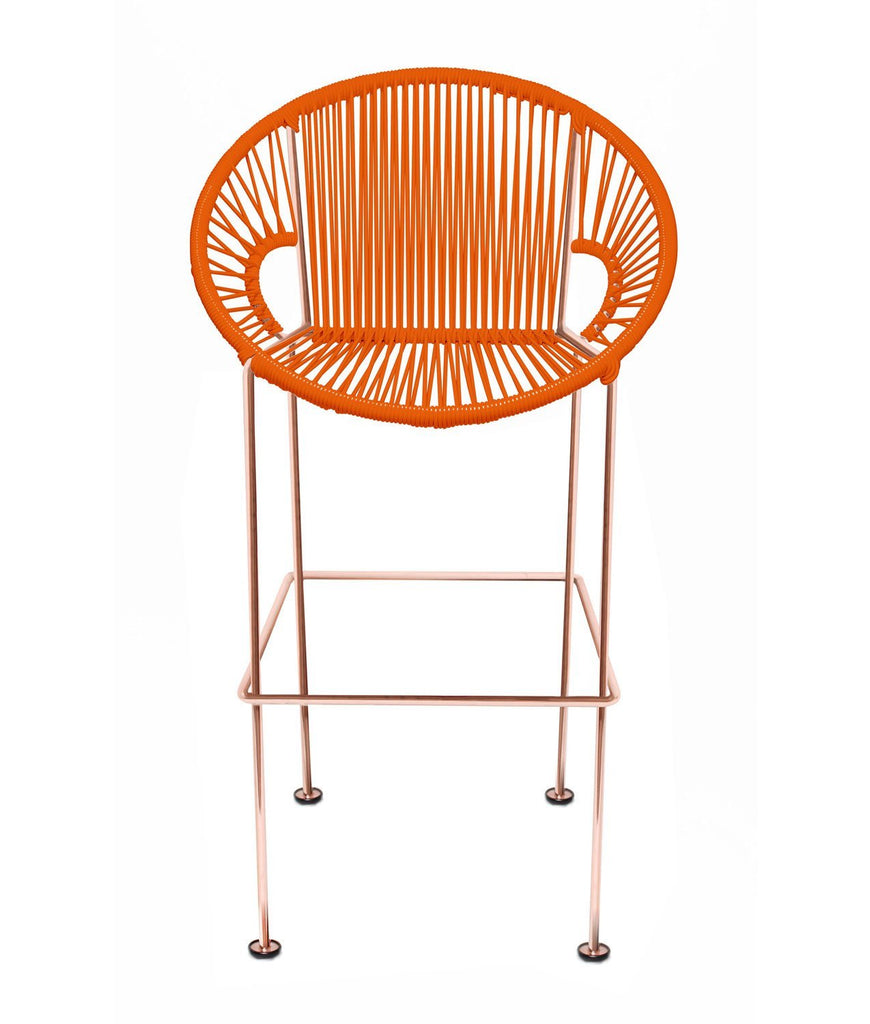 Bar Stools orange Weave on Copper frame Small Puerto stool (bar height 40'') on Copper Frame