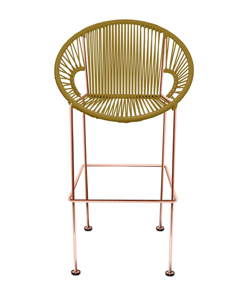 Bar Stools Gold Weave on Copper frame Small Puerto stool (bar height 40'') on Copper Frame