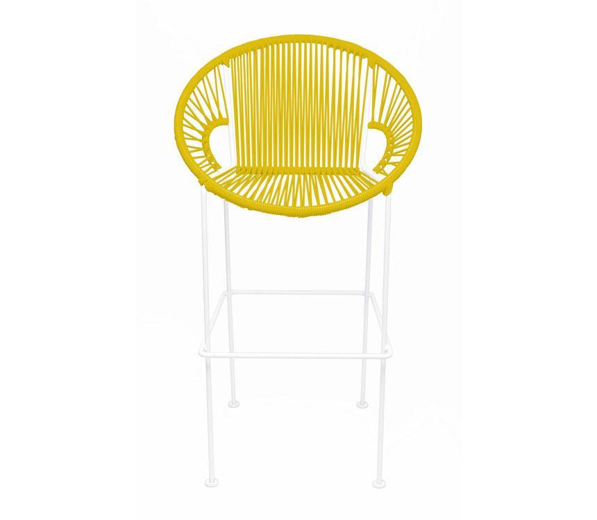 Bar Stools Yellow on White Frame Small Puerto Stool (bar height 40'') on White Frame