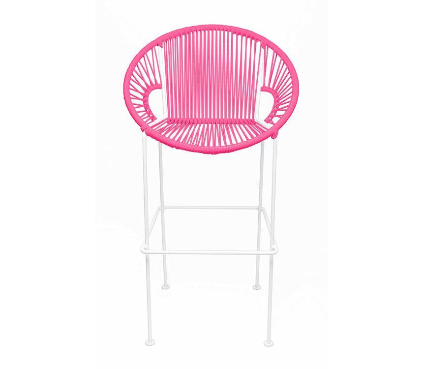 Bar Stools Pink on White Frame Small Puerto Stool (bar height 40'') on White Frame