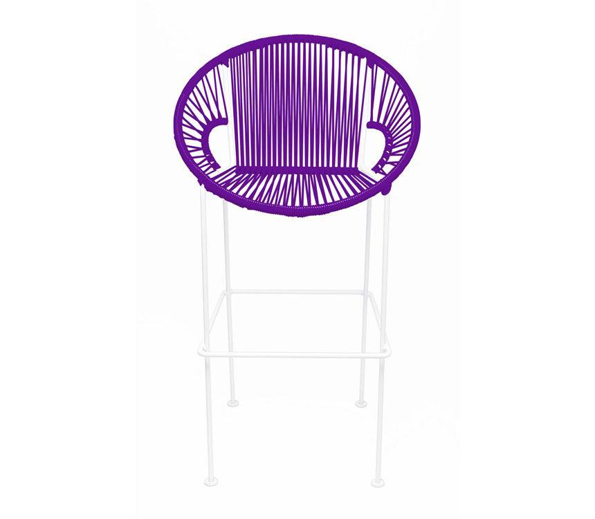 Bar Stools Purple on White Frame Small Puerto Stool (bar height 40'') on White Frame