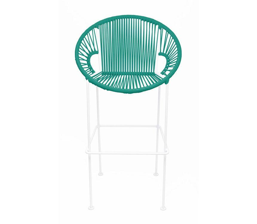 Bar Stools Turquoise on White Frame Small Puerto Stool (bar height 40'') on White Frame