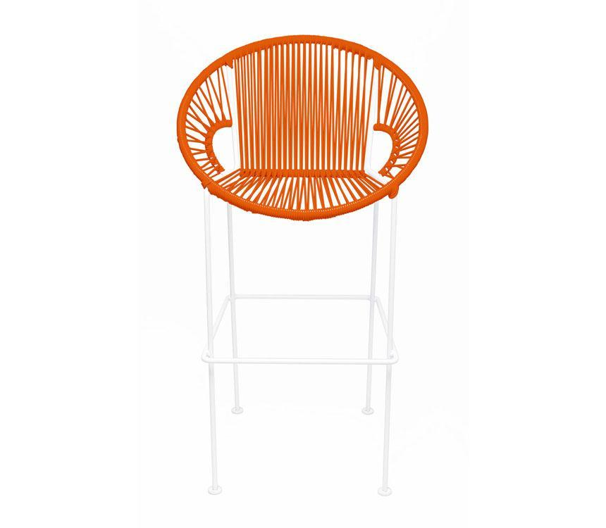 Bar Stools Orange on White Frame Small Puerto Stool (bar height 40'') on White Frame