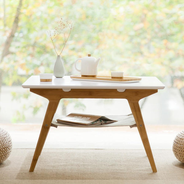 Square Natural Bamboo Double Layer Coffee Table Tea table at Lifeix Design