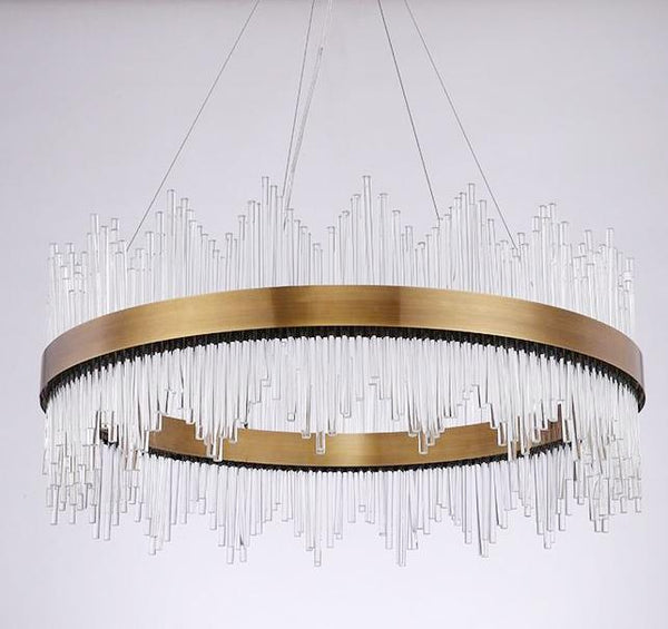 Stainless Steel & Crystal Stick Circular Chandelier - Intricately Detailed at Lifeix Design