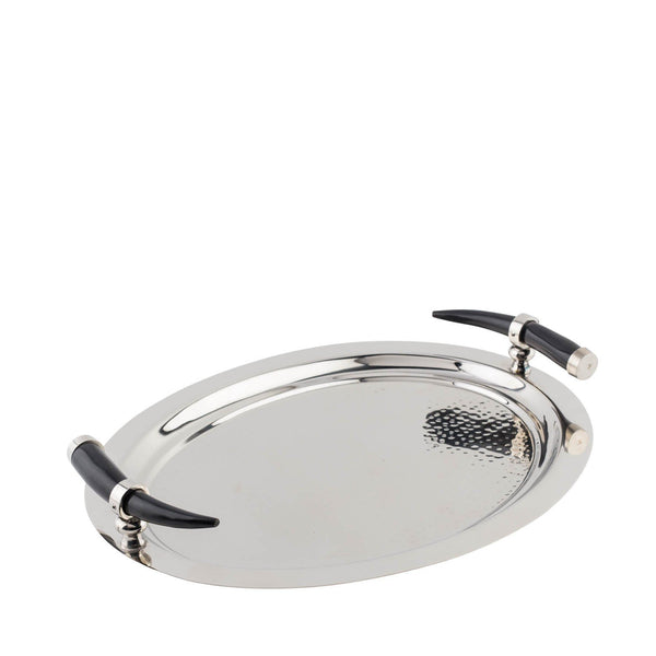 Stainless Steel- Oval Tray with Horn Inspired Handles