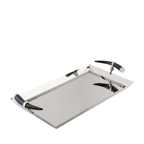 Stainless Steel- Rectangular Tray with Horn Inspired Handles