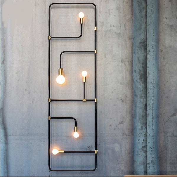 Black Style Black Iron Pipe Wall Lamp