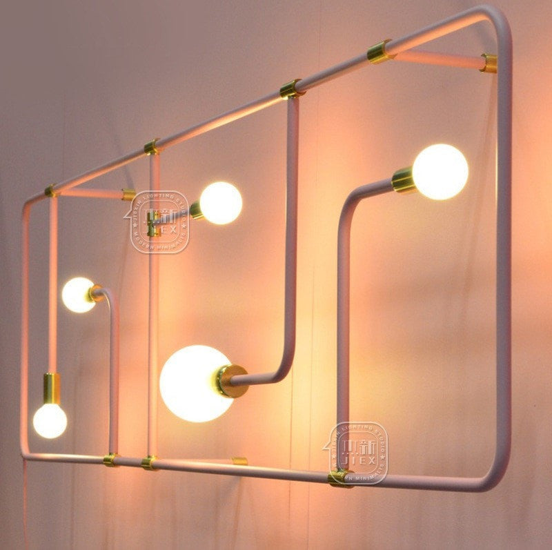 White Style Black Iron Pipe Wall Lamp