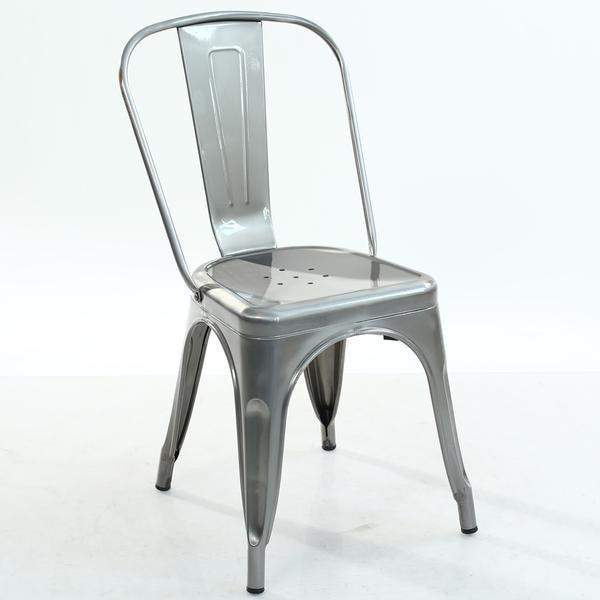 Chair Polished Gunmetal / Single Trattoria Side Chair in Polished Gunmetal