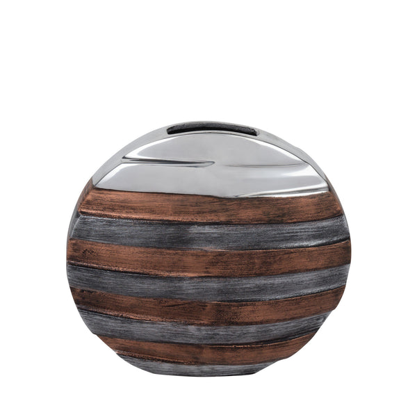 Tri- Tone Striped Round Vase- Large