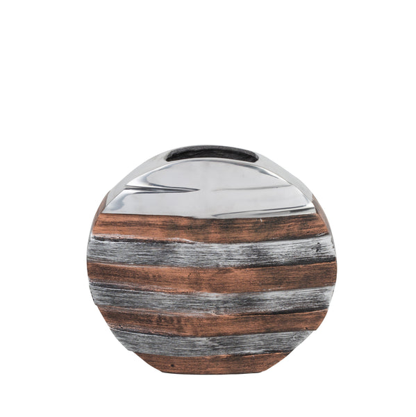 Tri- Tone Striped Round Vase- Small
