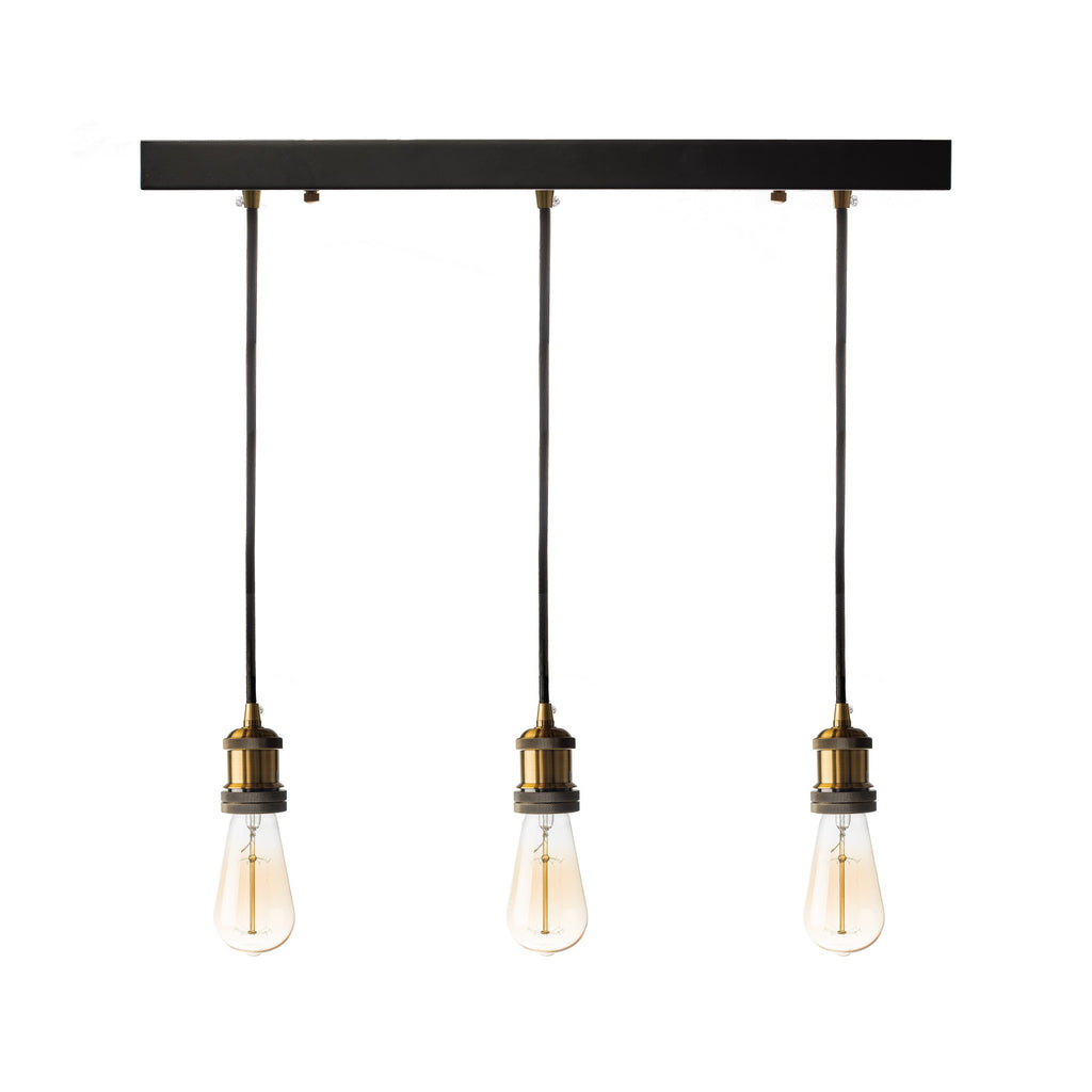 Black Triple Vintage Pendant Lamp- Black