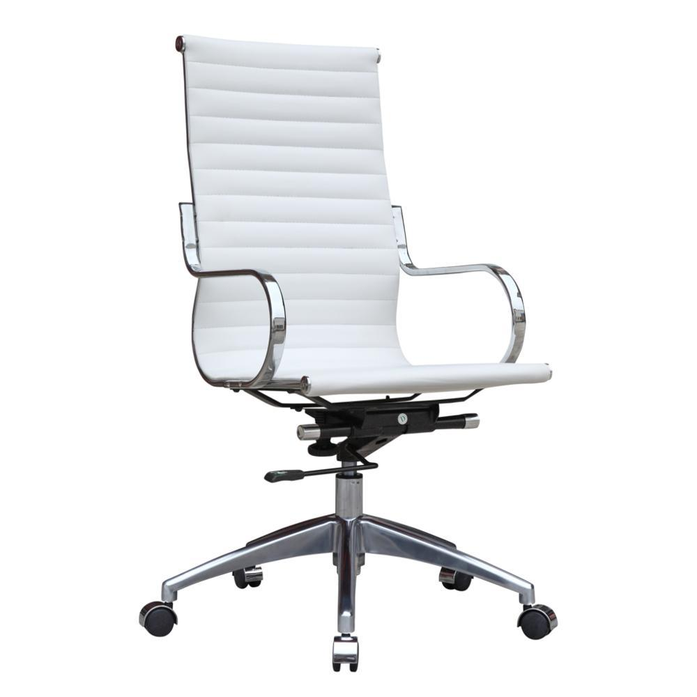 White Twist Office Chair High Back