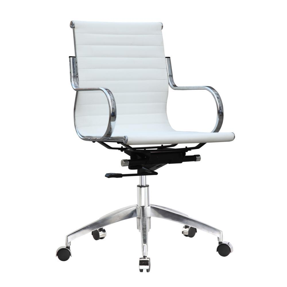 White Twist Office Chair Mid Back