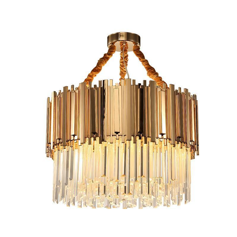 Vintage Asymmetrical Crystal & Iron Bar Pendant Light - Luxurious Crystal Chandelier at Lifeix Design